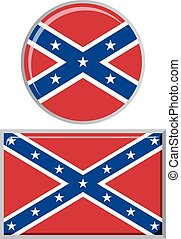 Confederate States of America round and square icon flag.