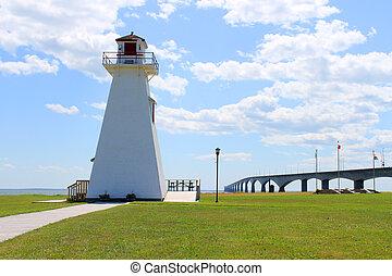 Confederation Bridge and lighthouse