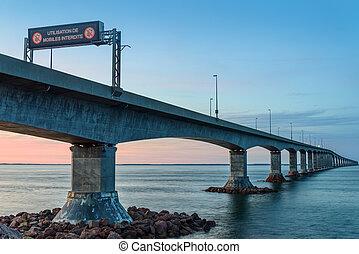 Confederation Bridge linking Prince Edward Island with mainland New Brunswick.
