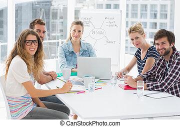 conferência, ao redor, pessoas escritório, tabela empresarial, casual