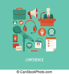 conferência, apartamento, estilo, conceito, negócio, vetorial