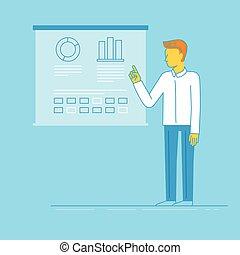 conferência, apartamento, estilo, linear, negócio, modernos, -, ilustração, vetorial