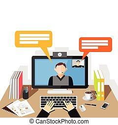 conferência, apartamento, illustration., vídeo, call., design.