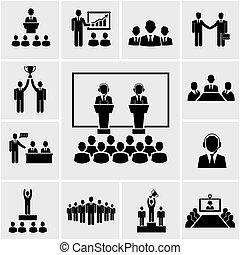 conferência, apresentação, ícones negócio