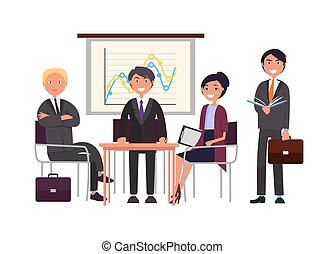 conferência, apresentador, seminário negócio, equipe