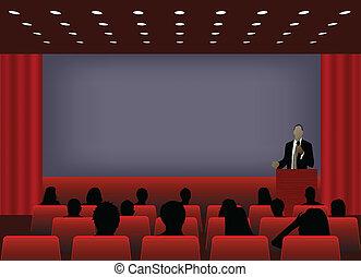conferência, audience., ou, projeção, torcida, texto,...