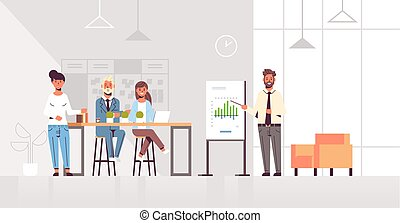 conferência, businesspeople, treinamento, conceito, financeiro, espaço escritório, gráfico, modernos, carta aleta, comprimento, cheio, apresentando, reunião, interior, homem negócios, horizontais, equipe, apresentação, co-working
