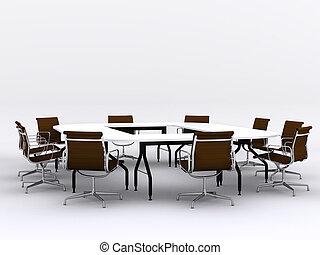 conferência, cadeiras, quarto encontrando, tabela