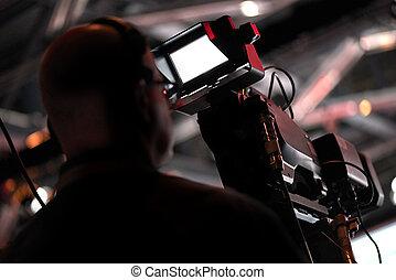 conferência, cameraman, producao, silueta