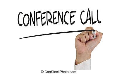 conferência, conceito, chamada