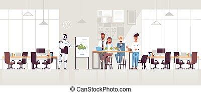 conferência, conceito, financeiro, reunião, escritório, businesspeople, inteligência, mapa, modernos, robô, artificial, inverter, negócio, comprimento, cheio, apresentando, gráfico, interior, horizontais, equipe, tecnologia