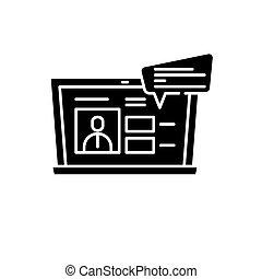 conferência, conceito, isolado, ilustração, sinal, experiência., vetorial, pretas, online, ícone, vídeo, símbolo