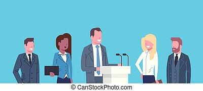 conferência, conceito, negócio, businesspeople, público, entrevista, reunião, debate