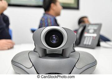 conferência, distância, vídeo, longo, comunicação