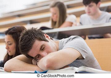 conferência, dormir, corredor, estudante, sentando