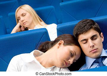 conferência, durante, sono