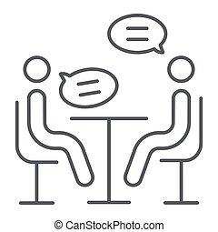 conferência, entrevista, linear, sinal, padrão, discussão, experiência., vetorial, magra, gráficos, ícone, linha, branca, reunião