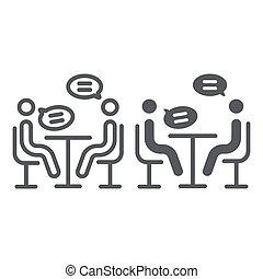 conferência, entrevista, linear, sinal, padrão, discussão, experiência., vetorial, reunião, gráficos, ícone, linha, branca, glyph