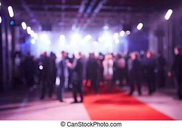 conferência, evento, conceito, pessoas negócio, abstratos, obscurecido, imprensa