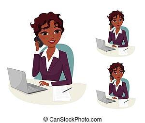 conferência, executiva, call:, telefone, americano, africano, reunião