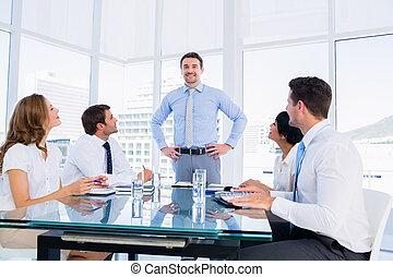 conferência, executivos, tabela, ao redor, sentando