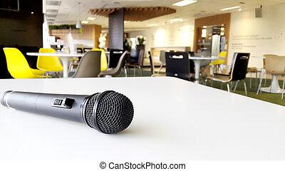conferência, fim, microfone, sala, cima