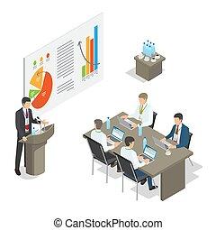conferência, gerentes, escritório, negócio, topo, reunião