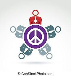 conferência, grupo, ao redor, sentando, sinal, liberdade, paz, pessoas, theme., ilustração, community., harmonia, hippy, conceitual, icon.