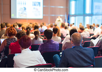 conferência, hall., audiência