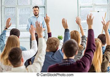 conferência, hall., orador, reunião negócio