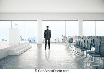 conferência, homem negócios, sala