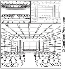 conferência, interior, corredor