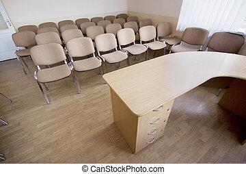 conferência, interior, quarto moderno, escritório