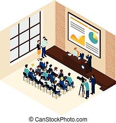 conferência, isometric, conceito, negócio