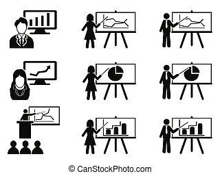 conferência, jogo, reunião, ícones negócio