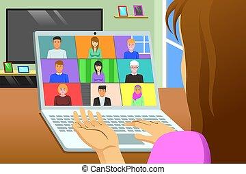 conferência, lar, online, chamada, reunião, trabalhando, ilustração