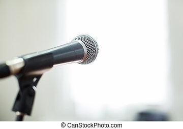 conferência, microfone, foco, contra, obscurecido, audiência, vocal