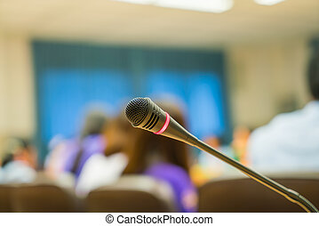 conferência, microfone, pretas, sala