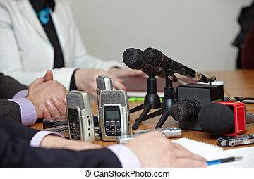 conferência, microfones, jornalismo, negócio, reunião