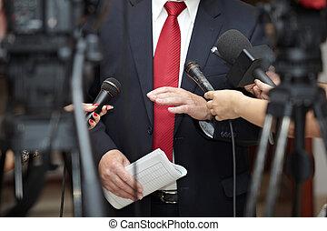 conferência, microfones, jornalismo, reunião negócio