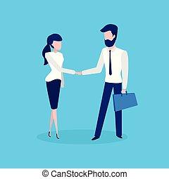 conferência, mulher, negócio, reunião negócio, homem