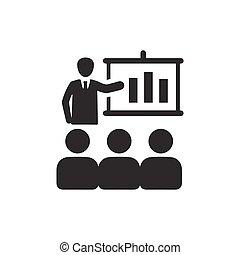 conferência, negócio, ícone
