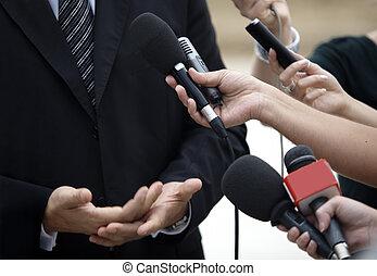 conferência, negócio, jornalismo, microfones, reunião