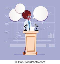 conferência, negócio mulher, candidato, americano, orador, africano, fala, reunião, público, seminário