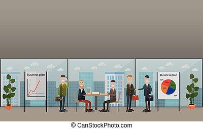 conferência negócio, reunião, conceito, vetorial, apartamento, ilustração