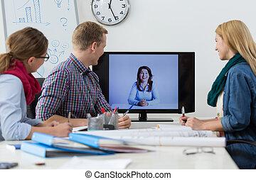 conferência, negócio, skype