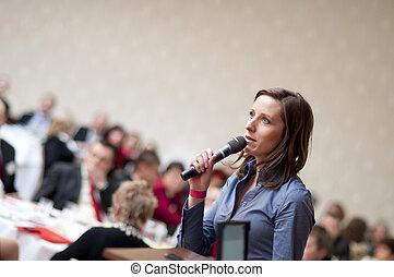 conferência, orador, negócio