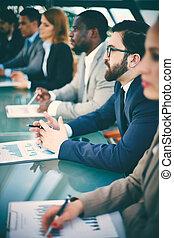 conferência, para, pessoas negócio