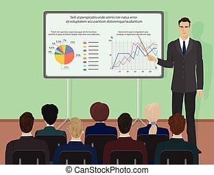 conferência, perito, pessoas, dar, concept., homem negócios, training., apresentação, seminário