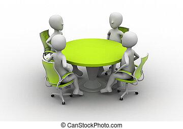 conferência, pessoa, 3d, tabela